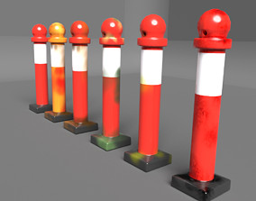3D model Safety Cone Red Color with 6 variation Texture