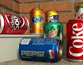Low-poly Soda Drink Cans 3D asset