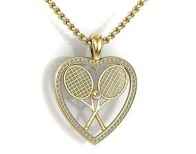 3D print model Gold tennis pendant heart design