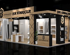 5x9 Textile Exhibiton Stand 3D Model 2 Sides Open Booth