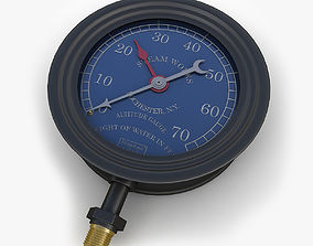 3D Vintage large steam pressure gauge 2