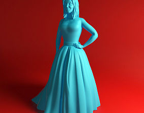 Girl in dress woman 3D printable model