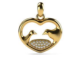 Heart pendant with doves 3D print model