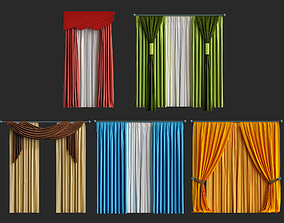 realtime low poly curtains 3d models pack for game