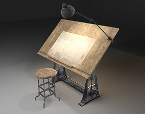 3D desk 1910 American Trestle Drafting Table
