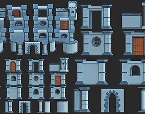 VR / AR ready modular walls pack low poly 3d model