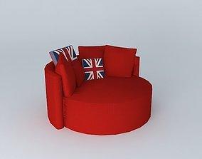 3D model British round sofa houses the world