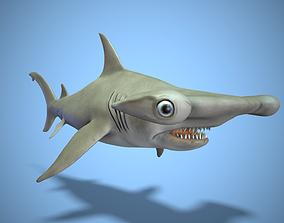 Hammerhead shark 3D model animated low-poly
