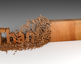 3D model Wood Chipping Thank You Text Animation
