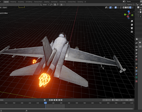 3D model Fighter Jet with Fire mesh