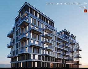 3D model Modern residential building 10 night