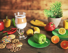 Fruits on Table Scene 3D model