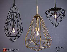 Industrial lamp set 3D