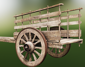 3D asset Old Wooden Rusted Cart