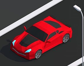 Cartoon Low Poly Sportcar 3D asset realtime