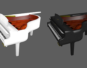 3D asset low-poly grand tuba Piano
