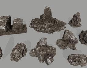3D model game-ready old rocks