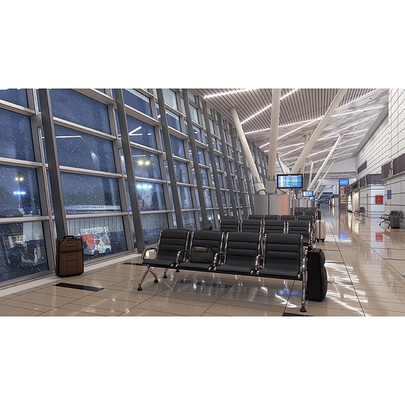 Airport. Background for visual novel.