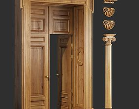 3D model Classic Wooden Door and Carved Elements