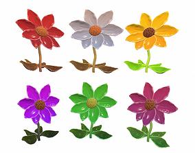 3D asset Sunflower cartoon stylized pack