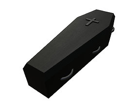 black painted wooden coffin with metal cross 3D model