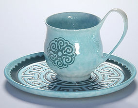 3D Handmade cup with etno pattern ceramic