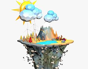 Floating Windmill Island Low Poly 3D