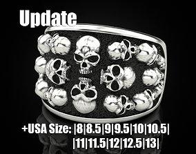 Skulls ring 3D print model rings