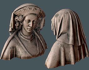 3D model Bust - queen Margaret - low poly