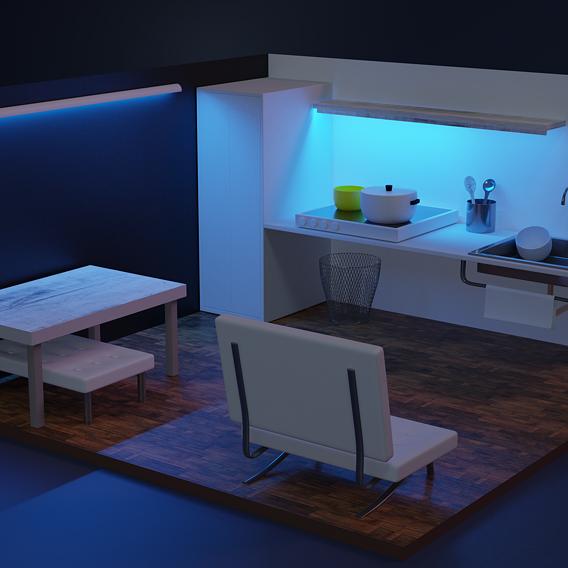 Kitchen interior with blue light