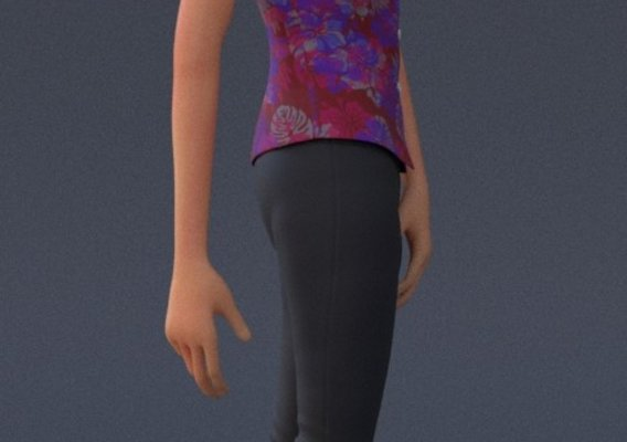 Violet Cartoon character Rig  Outfit 2 Full body