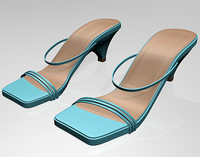3D model Square-Toe High-Heel Strappy Sandals 01