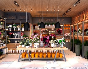 Flower shop 3D model animated petergof