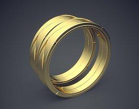 Simple Minimal Golden Wedding Rings 3D printable model 2