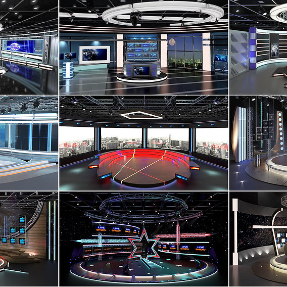 Virtual TV Studio Sets -3d models