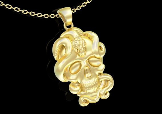 Skull and Snake Pendant jewelry Gold 3D print model