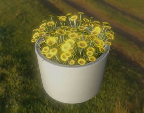 3D asset Concrete Pipe Pot 1000mm with Small Sunflowers 1