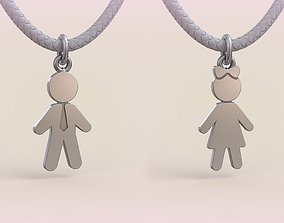 Pendant Boy and Girl 07 women 3D printable model