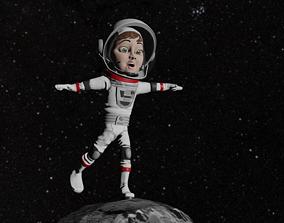 Astronaut Female Cartoon Rigged 3D asset