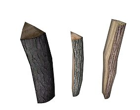 Firewood Low Poly 3D asset realtime