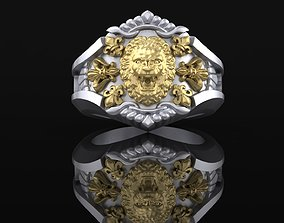 Ring with Lion amazing 3D printable model