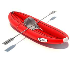 Red Inflatable Canoe 3D model