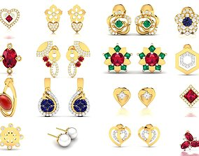 663 STUDS EARRINGS COLLECTION 3D