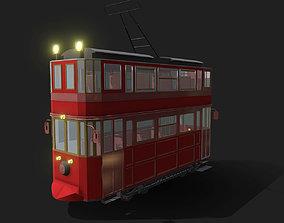 Vintage Style Double Decker Tram 3D asset
