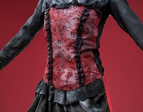 3D asset Bloody Horror Goth Dress