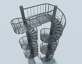 3D model Aluminum spiral staircases for outside