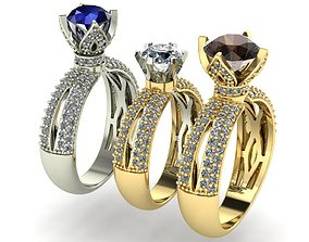 engagement ring three variants with 3D print model 1