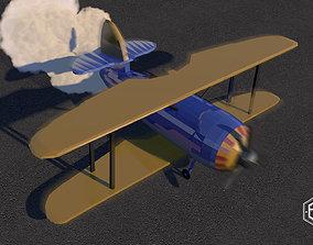 Lowpoly Doublewing plane 3D asset
