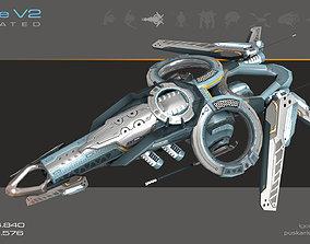 Drone V2 Cybertech - Animated 3D model