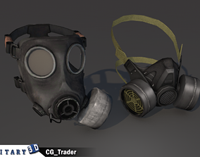 Gas mask lowpoly collection pack 3d model game-ready